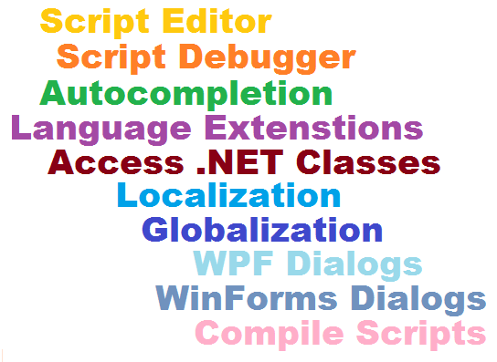 Editor, Debugger, Autocompletion, Language Extensions, .NET Classes, Localization, Globalization, Dialgos, Compile