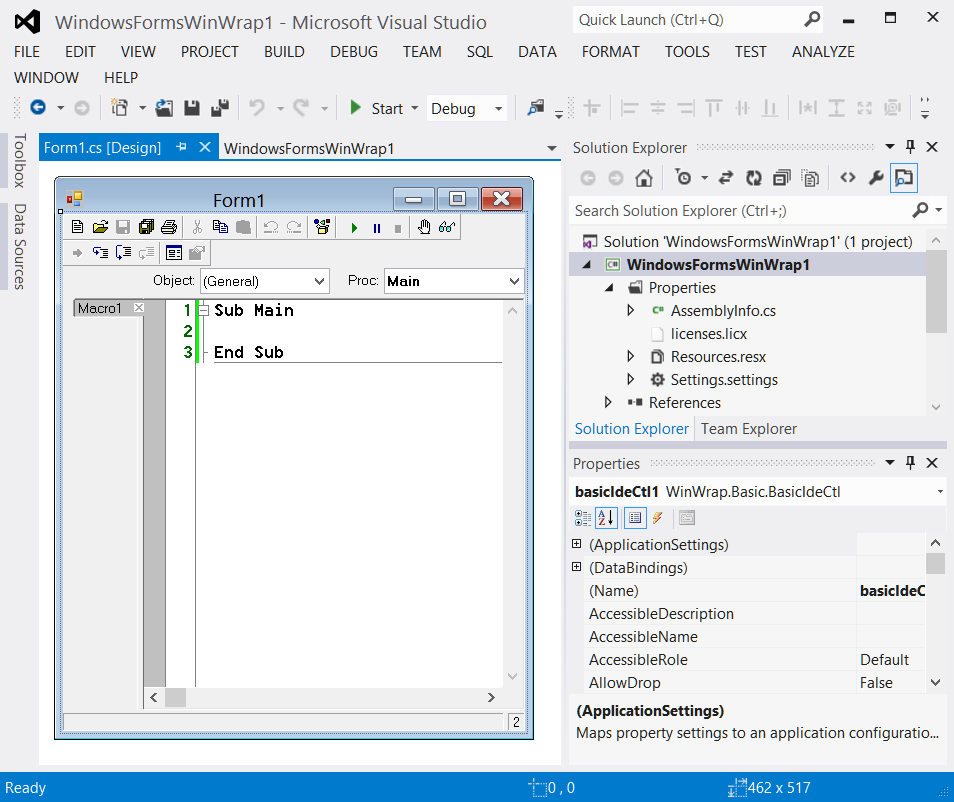 A Visual Studio 2012 project includes the WinWrap Basic IDE control