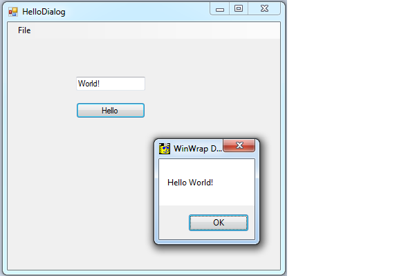 Display the Hello World Dialog